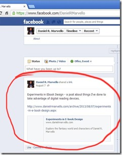 An automated post on the Daniel R. Marvello Facebook timeline