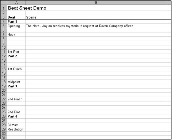 Demo Beat Sheet